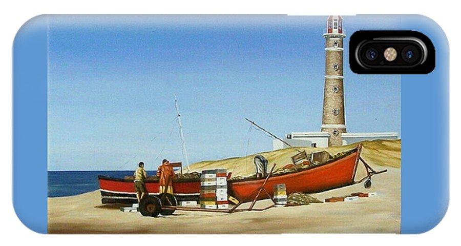 Lighthouse Fishermen Sea Seascape IPhone X Case featuring the painting Fishermen By Lighthouse by Natalia Tejera