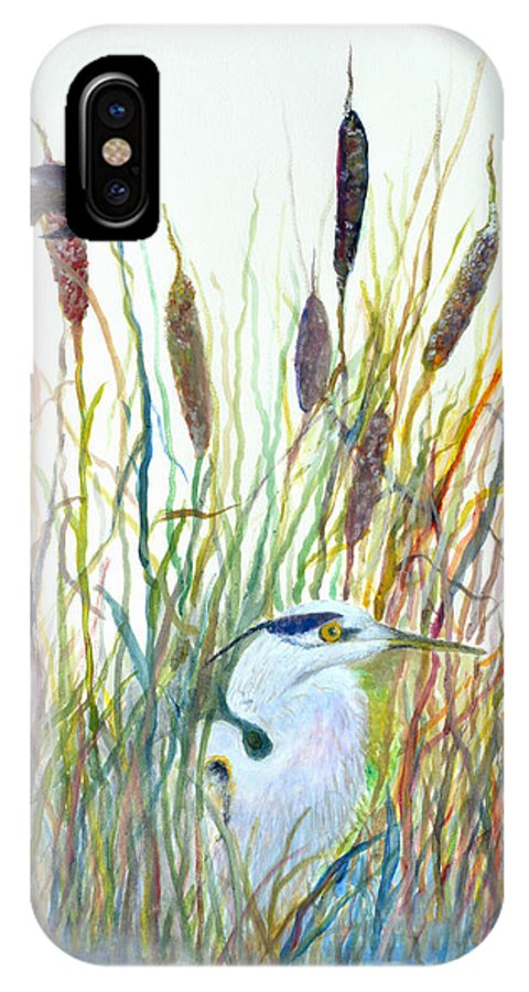 Fishing IPhone X Case featuring the painting Fishing Blue Heron by Ben Kiger
