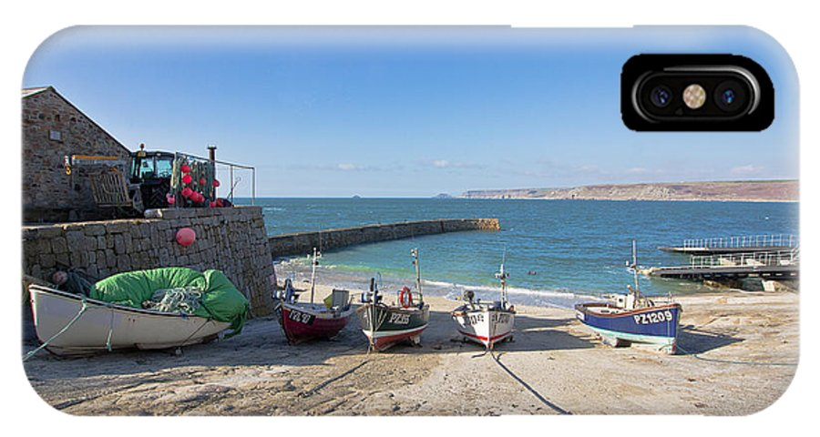 Landscape IPhone X / XS Case featuring the photograph Fishing Boats In Sennen Cove by Terri Waters