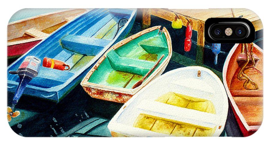 Fishing IPhone X Case featuring the painting Fishing Boats by Karen Fleschler
