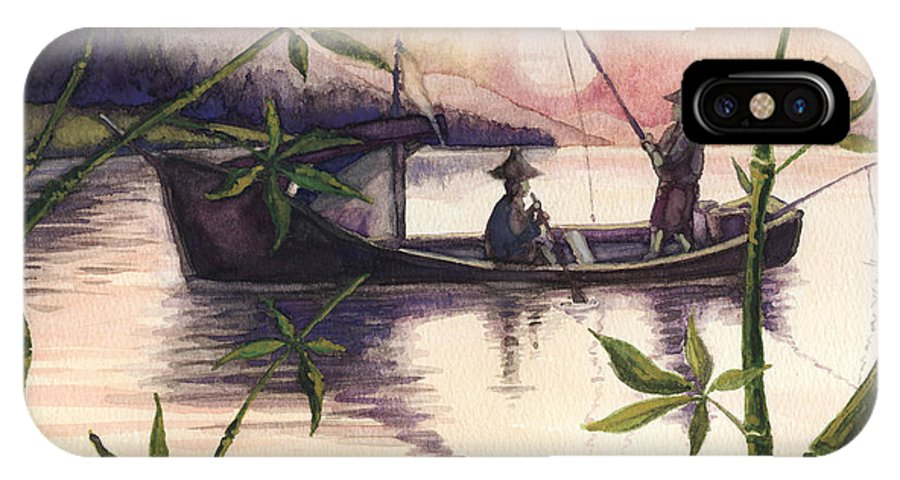 Fishing IPhone X Case featuring the painting Fishing In The Sunset  by Alban Dizdari