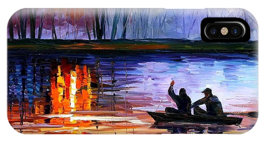 Seascape IPhone X Case featuring the painting Fishing On The Lake by Leonid Afremov