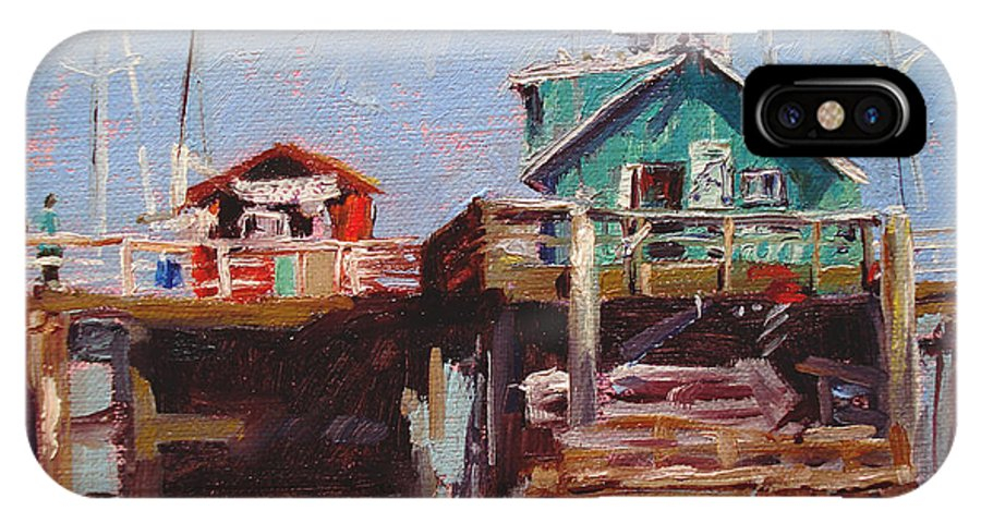 Fishing IPhone X Case featuring the painting Fishing Pier by Barbara Andolsek