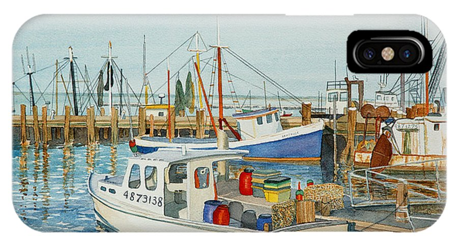 Boat IPhone X / XS Case featuring the painting Fishing Pier by Carolynn Fischel