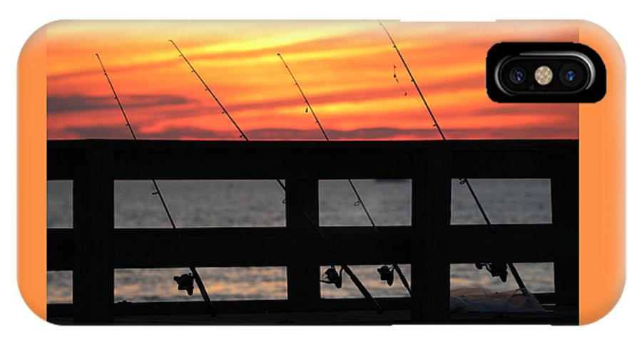 Fisherman IPhone X Case featuring the photograph Fishing Poles Mount Sinai New York by Bob Savage