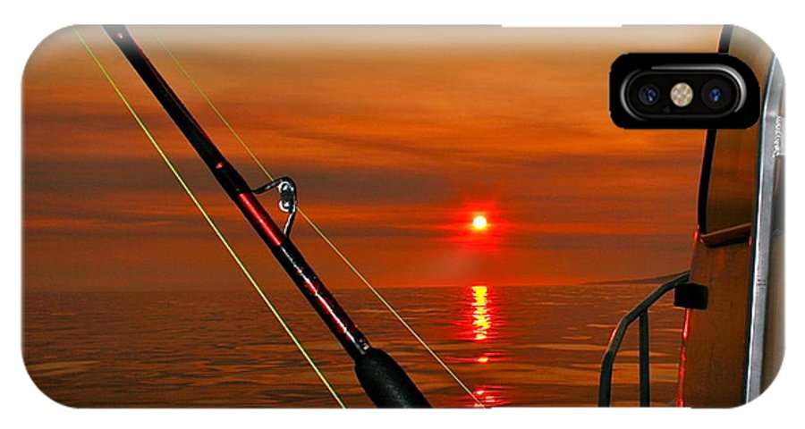 Sunset IPhone X Case featuring the photograph Fishing The Midnight Sun by Rick Monyahan