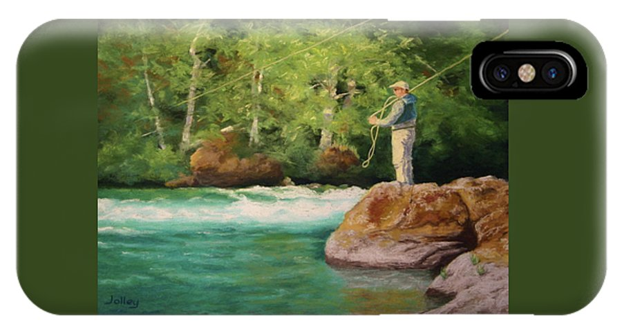 People IPhone X Case featuring the painting Fishing The Umpqua by Nancy Jolley