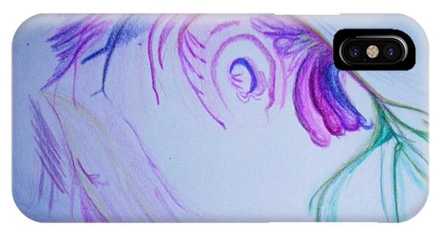 Abstract Painting IPhone X Case featuring the painting Fishy by Suzanne Udell Levinger