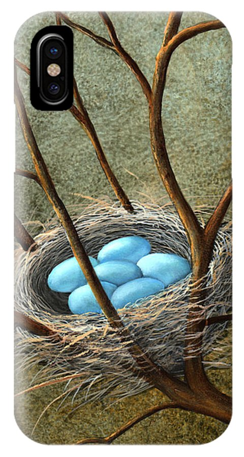 Birds IPhone X Case featuring the painting Five Blue Eggs by Frank Wilson