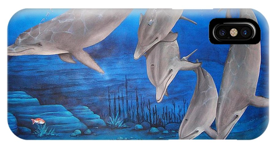 Dolphin IPhone X Case featuring the painting Five Friends by Cindy D Chinn