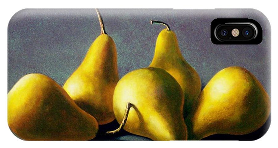 Still Life IPhone X Case featuring the painting Five Golden Pears by Frank Wilson
