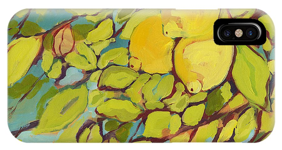 Lemon IPhone X Case featuring the painting Five Lemons by Jennifer Lommers