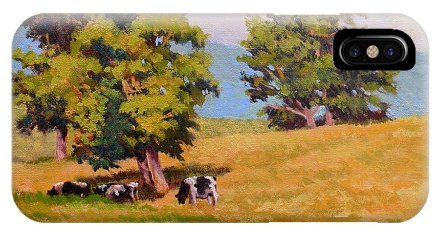 Landscape IPhone X Case featuring the painting Five Oaks by Keith Burgess