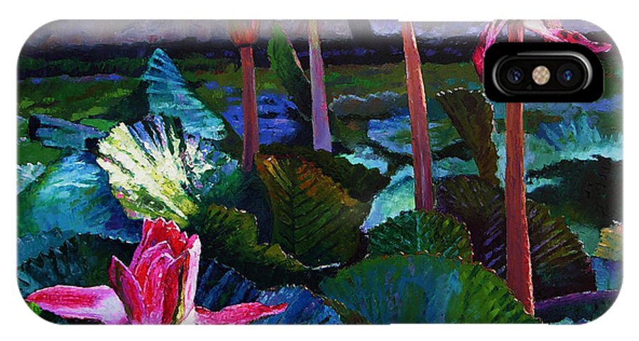 Water Lilies IPhone Case featuring the painting Five Stages To Beauty by John Lautermilch