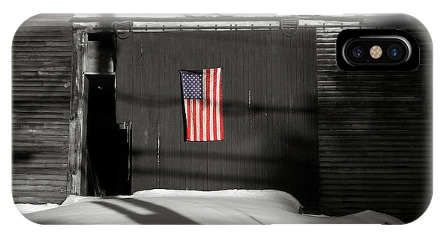 Barn IPhone X Case featuring the photograph Flag On A Wentworth Barn by Wayne King