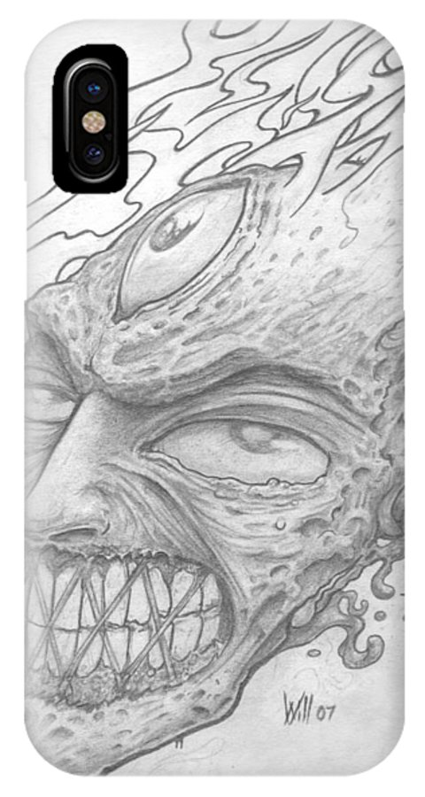 Zombie IPhone X Case featuring the drawing Flamehead by Will Le Beouf