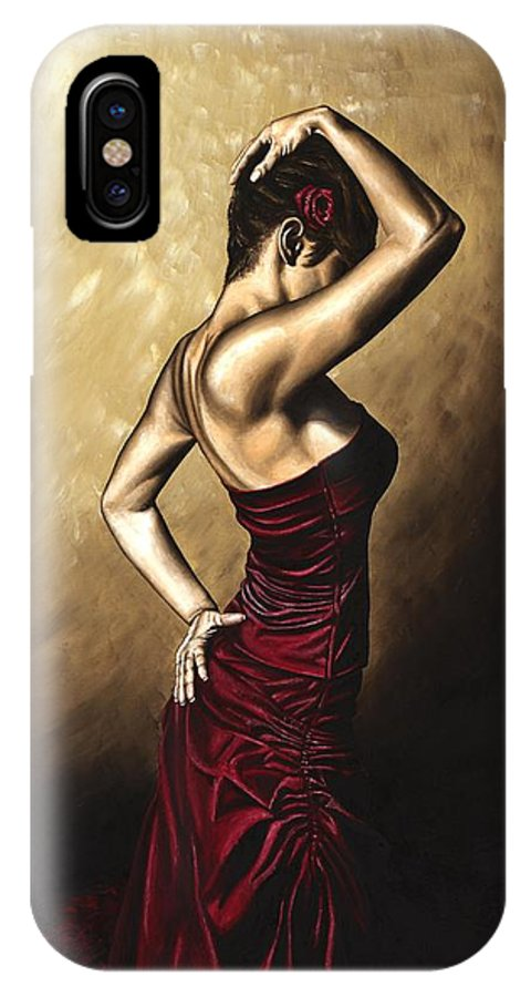 Flamenco IPhone X / XS Case featuring the painting Flamenco Woman by Richard Young
