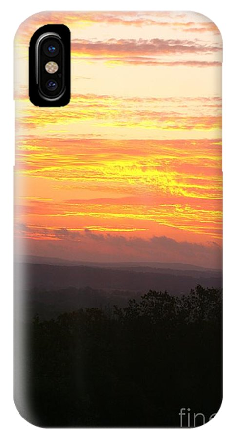 Sunrise IPhone Case featuring the photograph Flaming Autumn Sunrise by Nadine Rippelmeyer