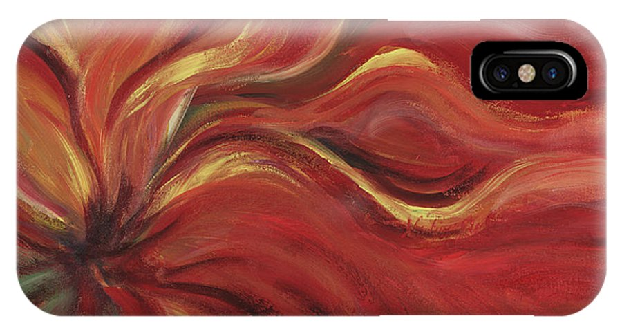 Red IPhone X Case featuring the painting Flaming Flower by Nadine Rippelmeyer