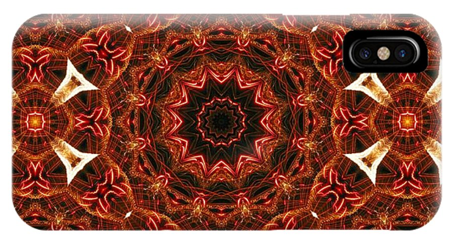 Kaleidoscope IPhone X Case featuring the photograph Flaming Ribbons And Trumpets by M E Cieplinski
