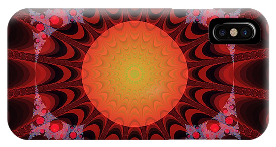 Fractal IPhone X Case featuring the digital art Flaming Sol by Frederic Durville