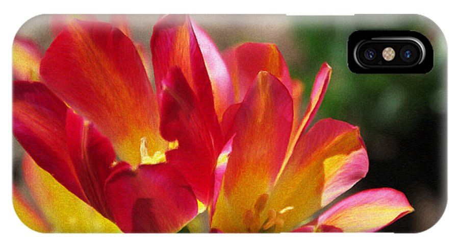 Tulips IPhone X Case featuring the painting Flaming Tulips by Jeffrey Kolker