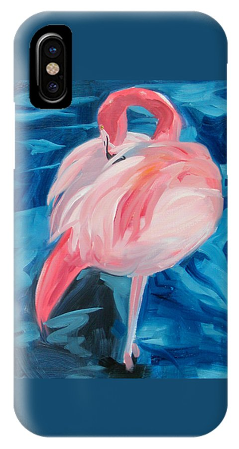 Tropical IPhone Case featuring the painting Flamingo by Neal Smith-Willow