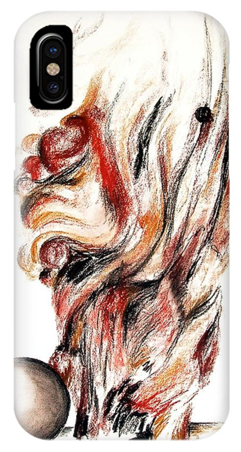 Still Life IPhone X / XS Case featuring the drawing Flamme En Bois by Muriel Dolemieux