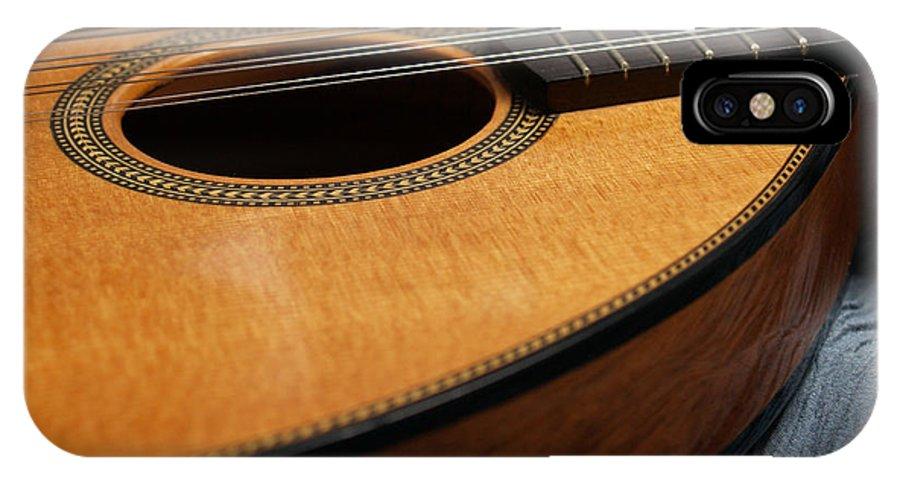 Mandolin IPhone X Case featuring the photograph Flatiron Mandolin On Blue by Anna Lisa Yoder