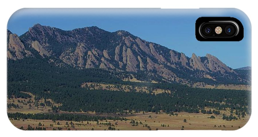 Flatirons IPhone X Case featuring the photograph Flatirons Of Boulder by Christopher Kirby