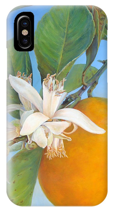 Floral Painting IPhone X Case featuring the painting Fleurs d oranges by Muriel Dolemieux