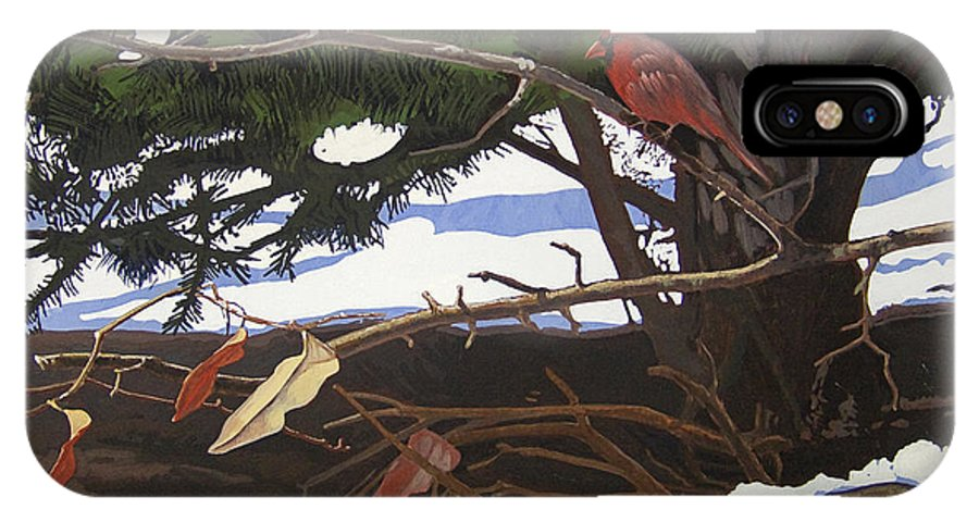 Landscape IPhone Case featuring the painting Flickering Flames by Peter Muzyka