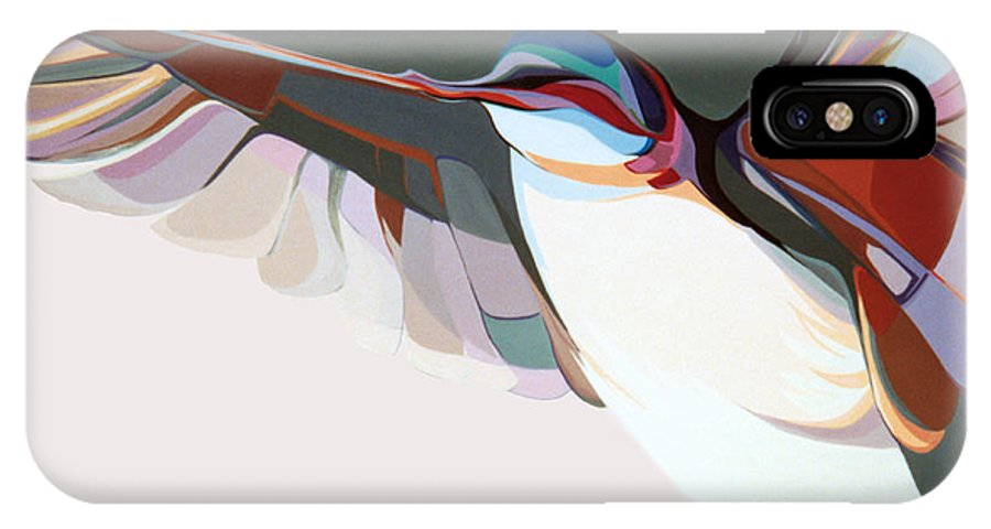 Abstract IPhone X Case featuring the painting Flight Of Fancy by Marlene Burns