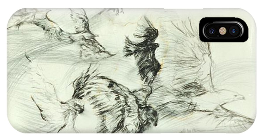 Birds; Nature; Spiritual; Metaphore; IPhone X Case featuring the drawing Flight Of The Eagle by Arlene Rabinowitz