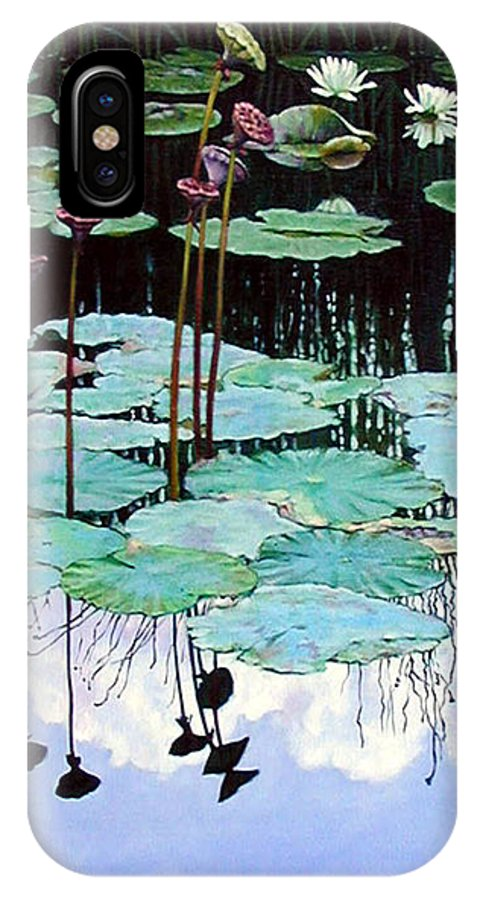 Water Lilies IPhone Case featuring the painting Floating - Reflective Beauty by John Lautermilch