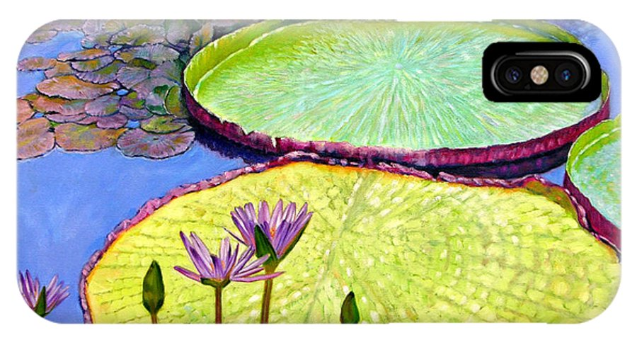 Garden Pond IPhone X Case featuring the painting Floating Galaxies by John Lautermilch