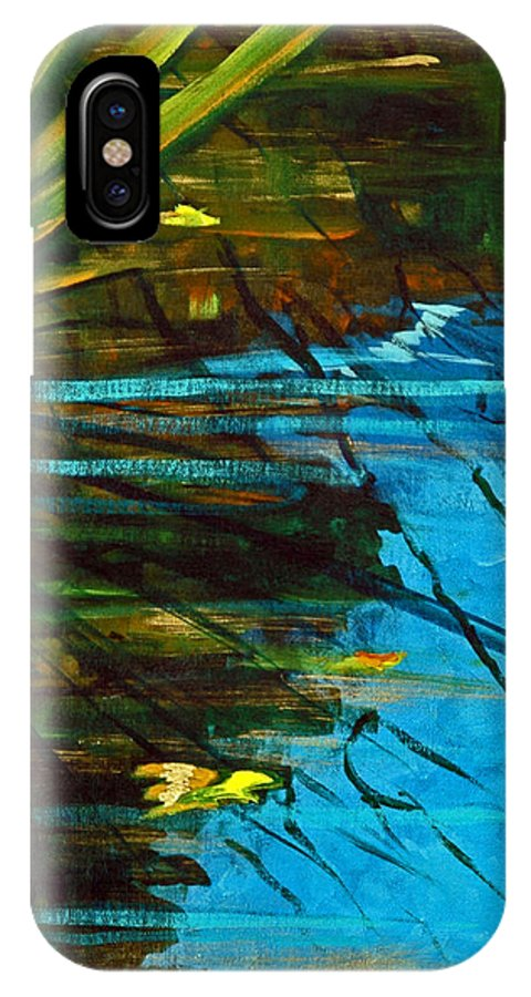 Acrylic IPhone X Case featuring the painting Floating Gold On Reflected Blue by Suzanne McKee