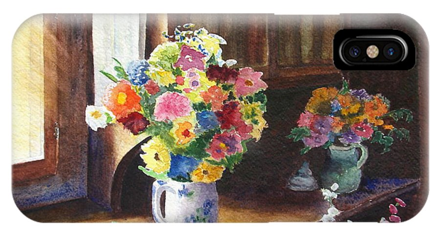 Flowers IPhone X Case featuring the painting Floral Arrangements by Karen Fleschler