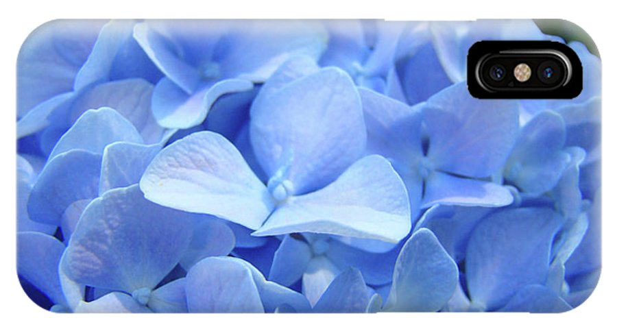 Hydrangea IPhone X Case featuring the photograph Floral Artwork Blue Hydrangea Flowers Baslee Troutman by Baslee Troutman