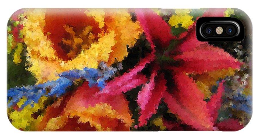 Flowers IPhone X Case featuring the digital art Floral Blast by Tim Allen