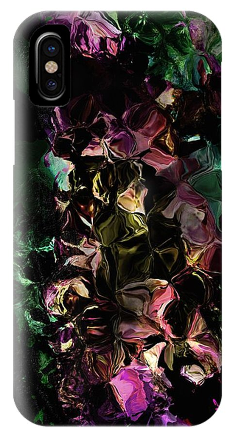 Floral IPhone X Case featuring the digital art Floral Fantasy 072817 by David Lane