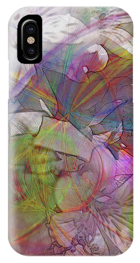 Floral Fantasy IPhone X Case featuring the digital art Floral Fantasy by John Beck