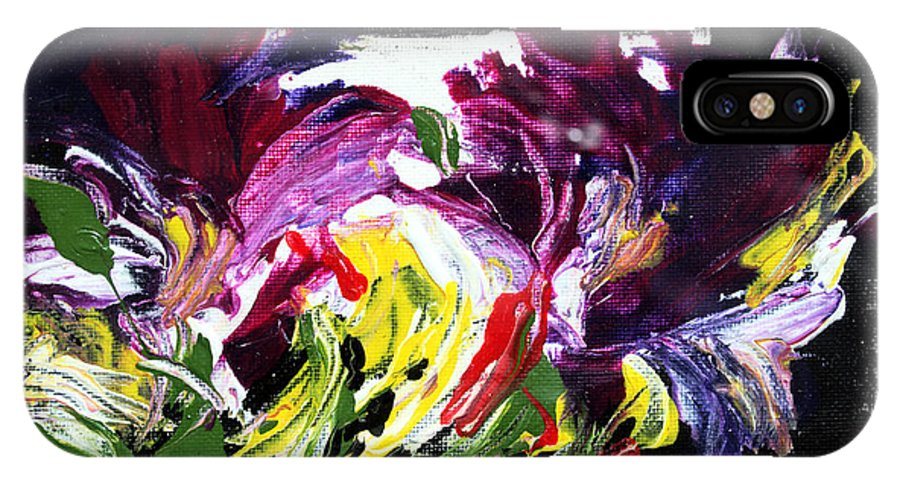 Abstract IPhone X Case featuring the painting Floral Flow by Mario Zampedroni
