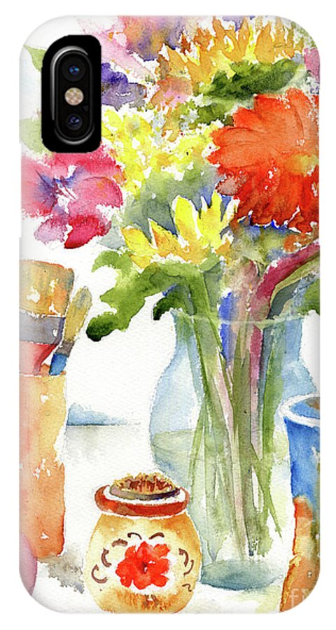 Impressionism IPhone X Case featuring the painting Floral Still Life by Pat Katz