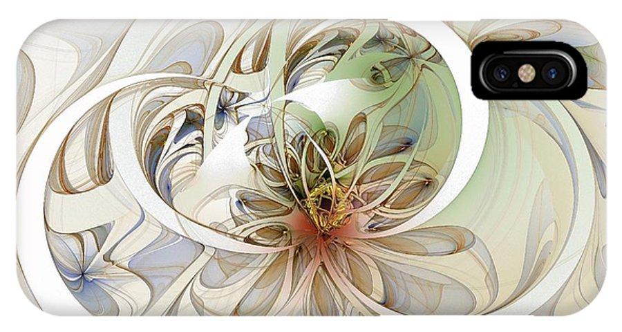 Digital Art IPhone Case featuring the digital art Floral Swirls by Amanda Moore