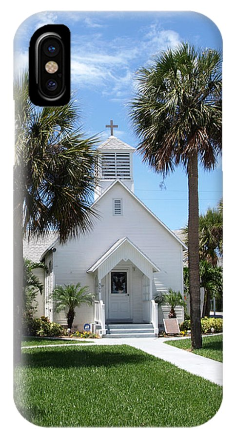 Chapel; Community; Melbourne; Beach; Florida; Melbourne Beach; Church; Congregationalist; Worship; M IPhone X Case featuring the photograph Florida Community Chapel by Allan Hughes