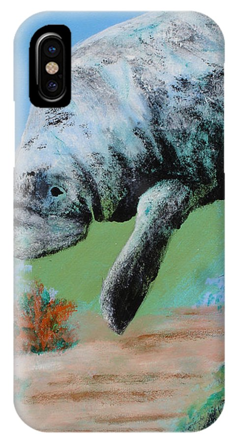Florida IPhone X Case featuring the painting Florida Manatee by Susan Kubes