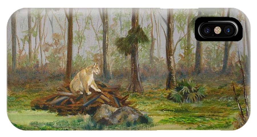 Florida IPhone X Case featuring the painting Florida Panther by Susan Kubes