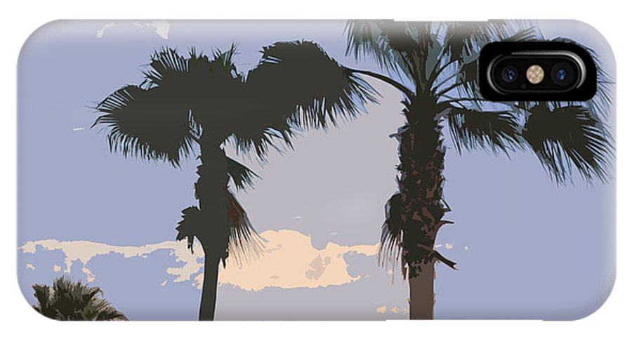 Florida IPhone X Case featuring the painting Florida Queen Palm Trees  by Allan Hughes