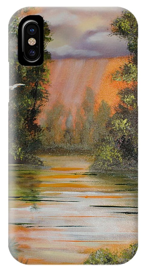 Landscape IPhone Case featuring the painting Florida Thunderstorm by Susan Kubes